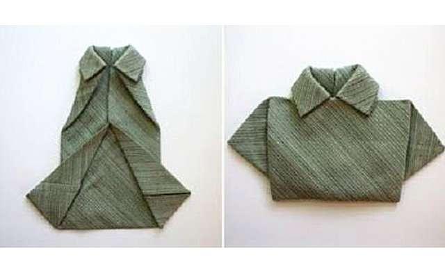 Салфетка в форме рубашки к праздничному столу