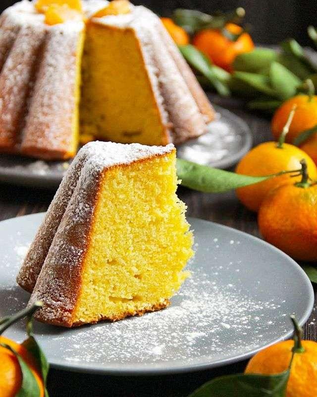 Пышный мандариновый кекс с кукурузной мукой