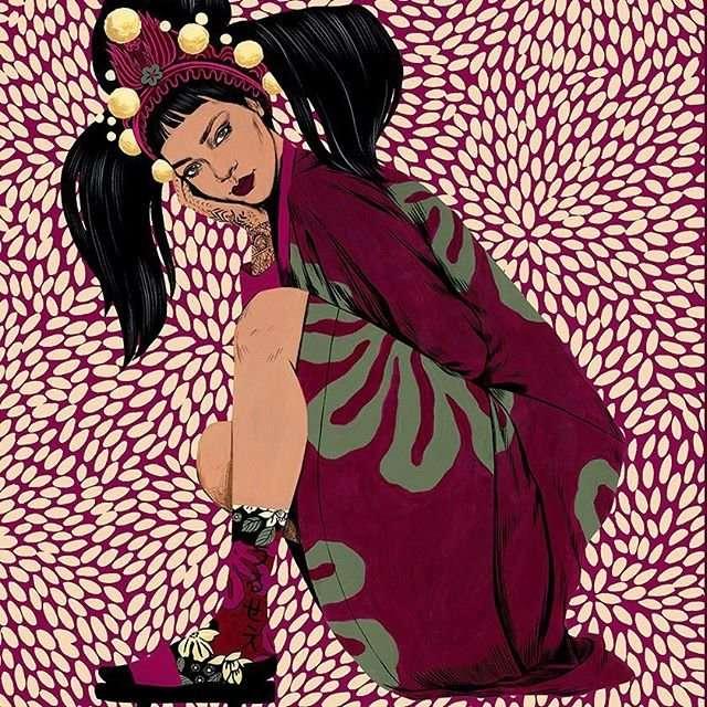 Яркие, пушистые, с японскими мотивами носки от Рианны